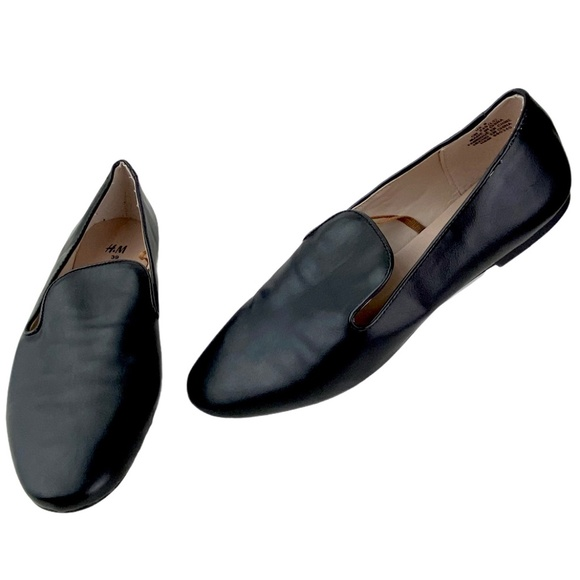 H&M Black Faux Leather Slip-On Flat Loafer Shoes